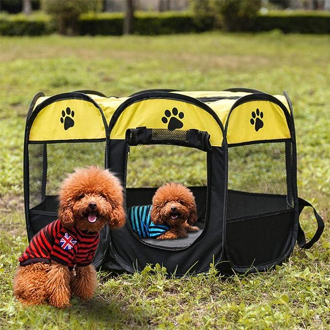 Cama portable de la Carpa del perro casero Parque infantil Casa for Perros cesta plegable del perro de perrito del recinto de la jaula a prueba de agua for el perro de la perrera Casa Nido-2_73x73x43c
