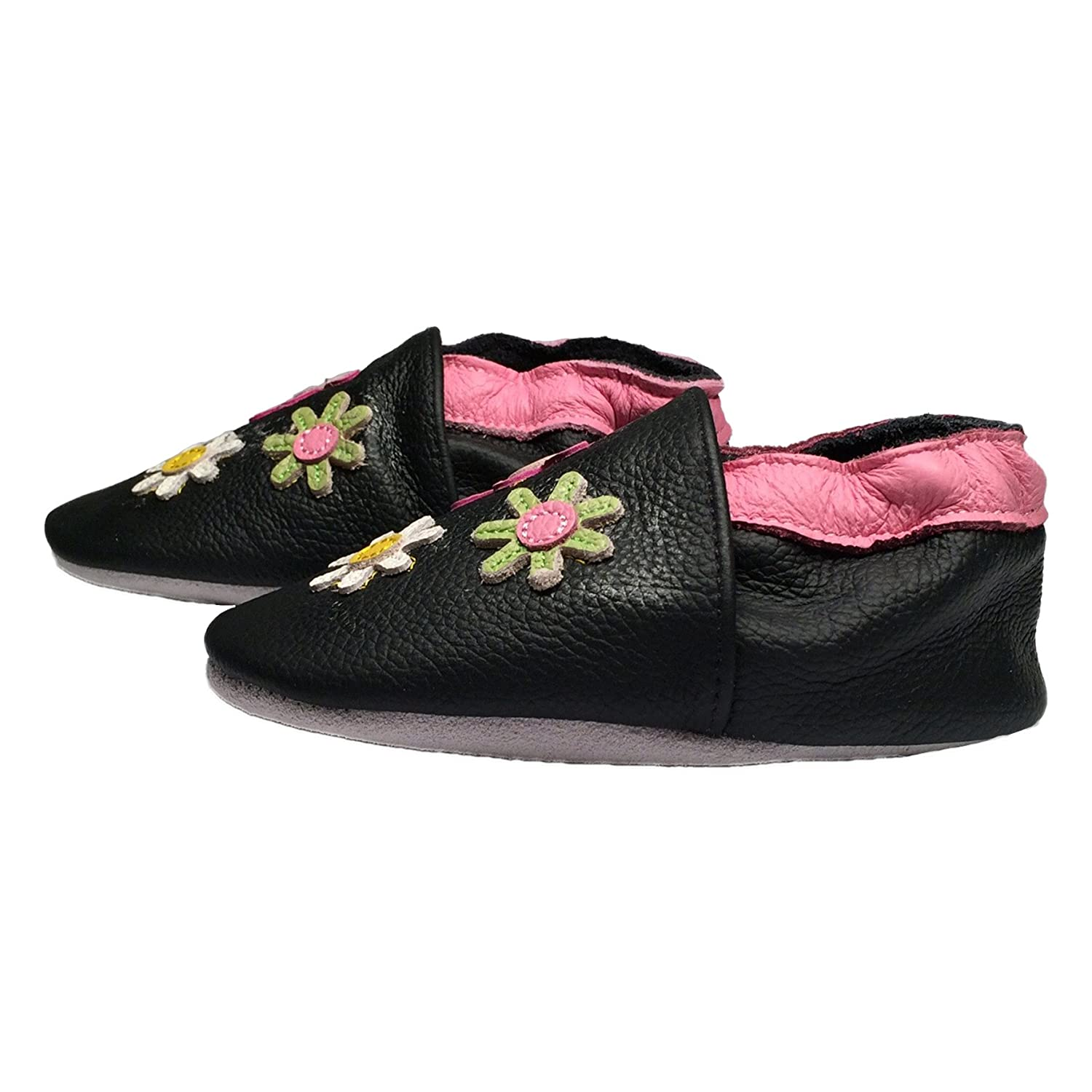 Baby Rae Infant//Toddler BlackFlower Soft Sole Leather Shoes