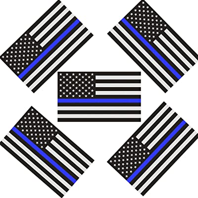 CREATRILL Reflective US Flag Decal Packs with Thin Blue Line for Cars & Trucks, 5 x 3 inch American USA Flag Decal Sticker Honoring Police Law Enforcement 3M Vinyl Window Bumper Tape (5-Pack): Automotive
