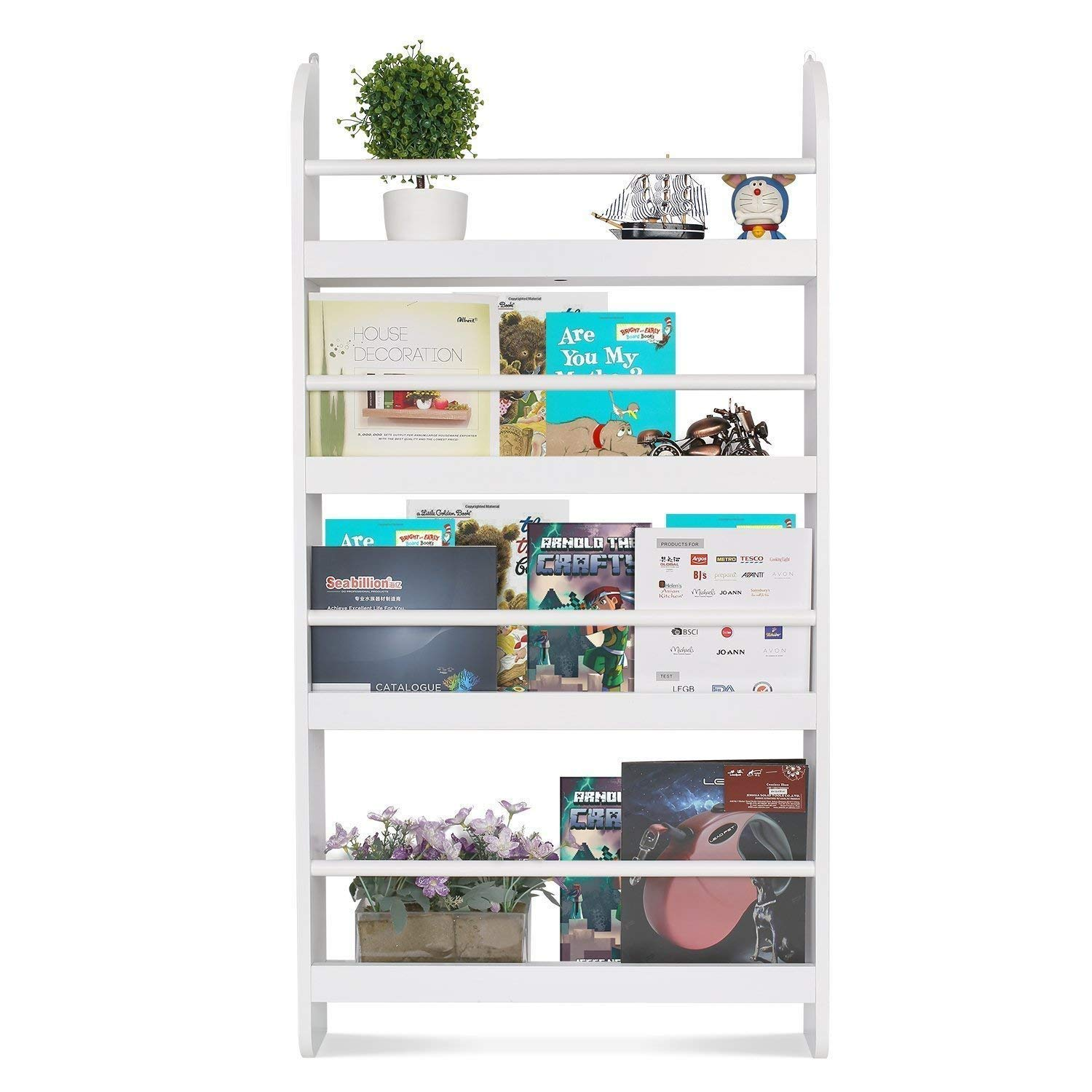 Homfa Kids Bookshelf, 4-Tier Children's Bookcase Rack Wall Mountable Floating Display Storage Shelves, Organizer Holder Stand for Books Toys in Study Living Room Bedroom, 23.2L x 4.7W x 44.5H, White by Homfa
