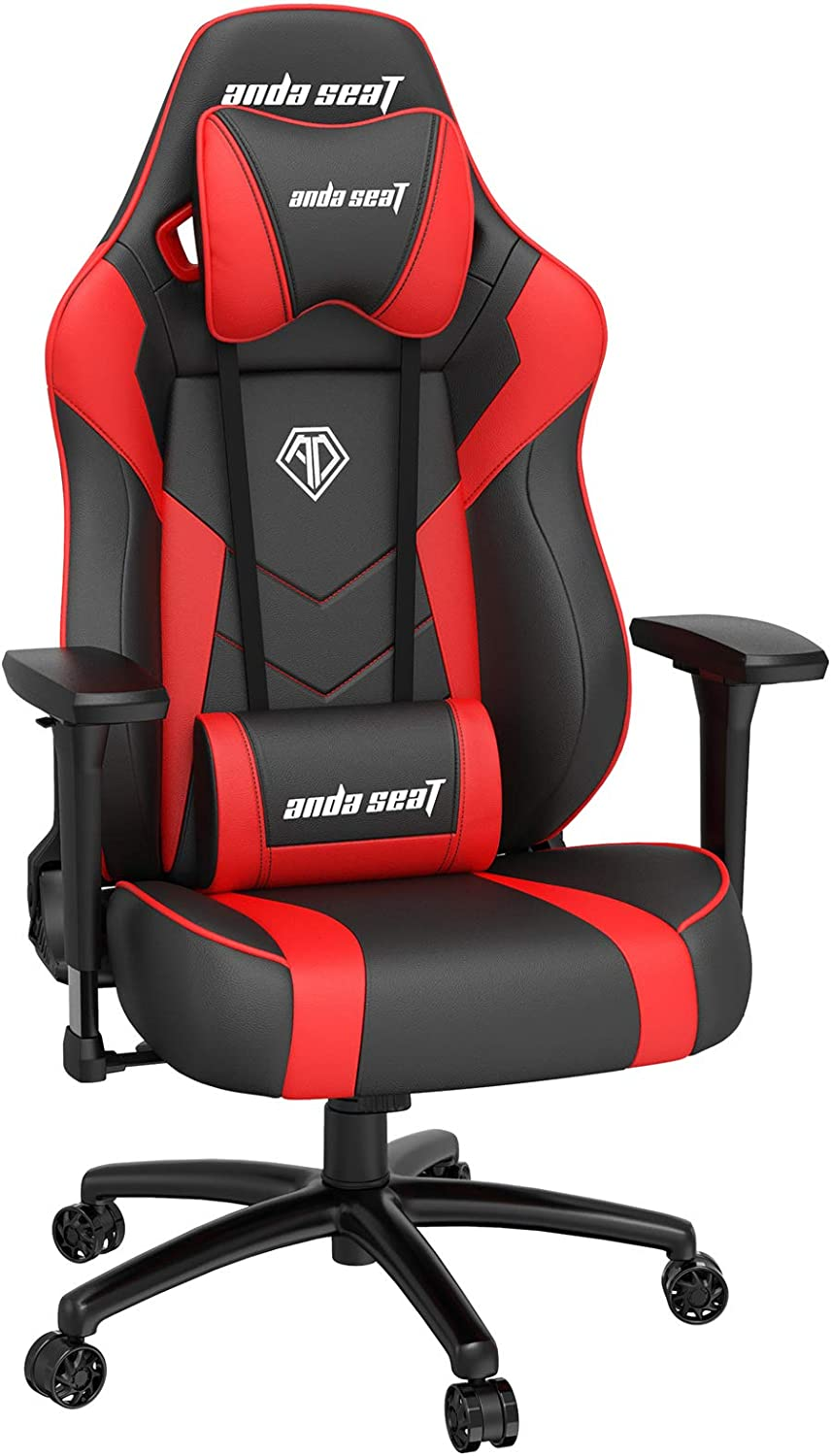 Gaming Chair, ANDASEAT Dark Demon Ergonomic Racing Computer Game Chair, Adjustable Armrest Swivel Rocker Recliner Office Chair with High-end Leather,Headrest and Lumbar Pillow E-Sports Chair (RED)
