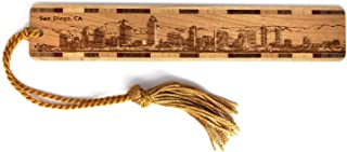 product image for Personalized San Diego, California Skyline - Engraved Wooden Bookmark with Tassel