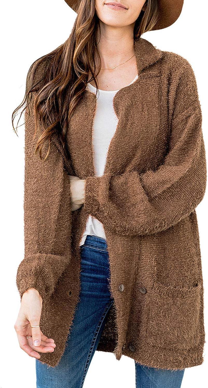 CORAFRITZ - Cardigan invernale da donna, in pile sherpa con tasche Marrone