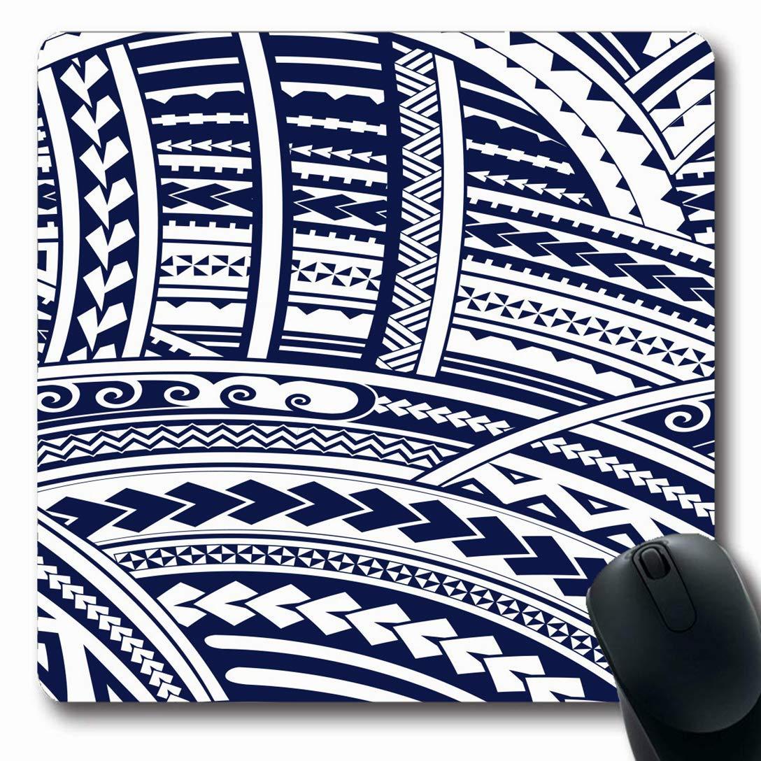 Luancrop Alfombrillas para computadoras Forma Maorí Azul polinesio ...