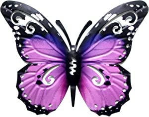 BinaryABC 3D Metal Butterfly Decor Wall Art Sculpture Hanging Decoration,Indoor Outdoor Garden Decoration(Purple)