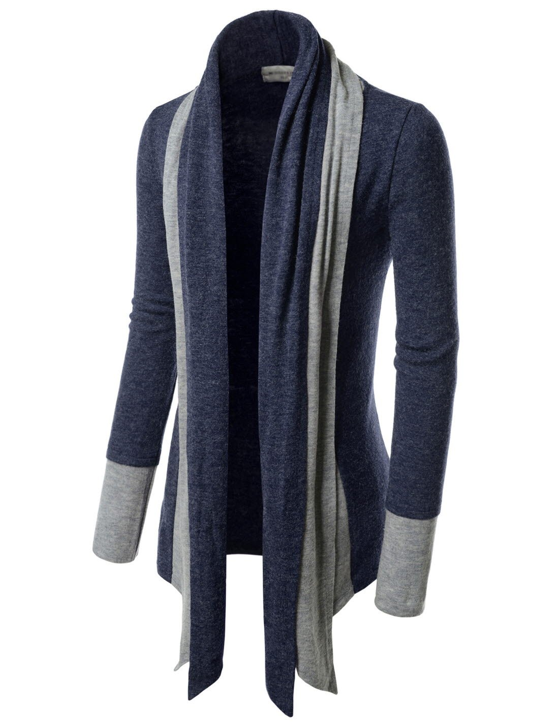 TheLees (NKCD94) Open Front Double Shawl Collar Cardigan Sweaters NAVY US XXXL(Tag size 3XL)