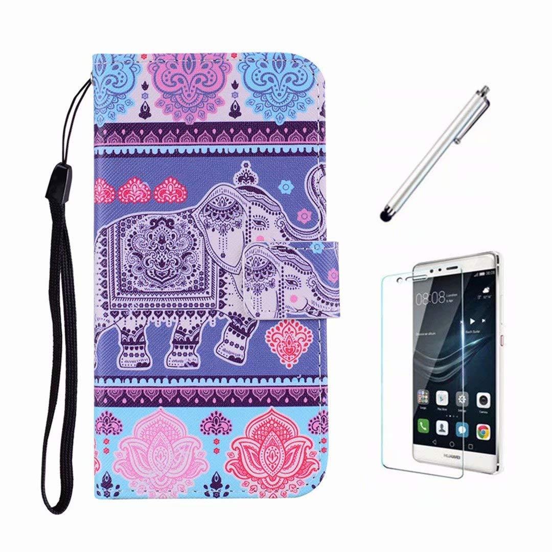 Cover Huawei P20 Lite Ttimao Flip PU Cuoio Portafoglio con Supporto Magnetico Adatto per Slot per Schede ID Shockproof Bumper Custodia-Elefante+Proteggi Schermo
