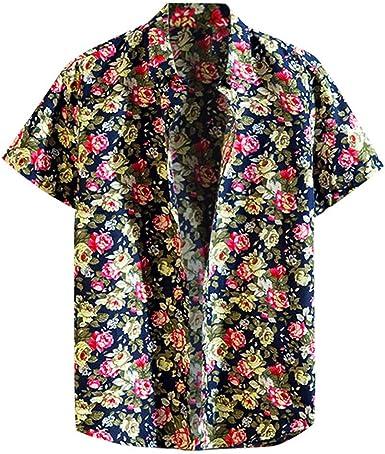 Camisas Hombre Flores 2019 Moda Playa de Verano Impresión Boho Vintage Retro Blusa Slim Fit Tops Shirts Cuello Mao Camisetas Hombre Manga Corta Tallas Grandes 5XL: Amazon.es: Ropa y accesorios