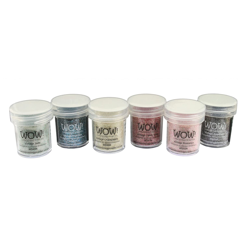 Tolles Produkt. Präge-Puder, Glitzer, 6-teiliges Set,Vintage-Kollektion Vintage-Kollektion Powder Arts