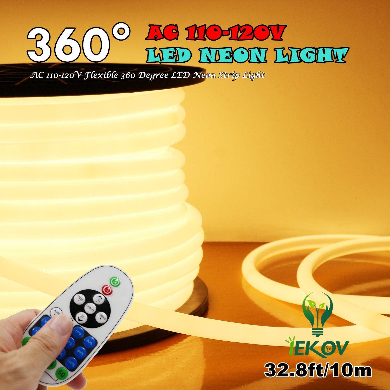 Upgrade] 360° LED NEON Light, IEKOVTM AC 110-120V Flexible