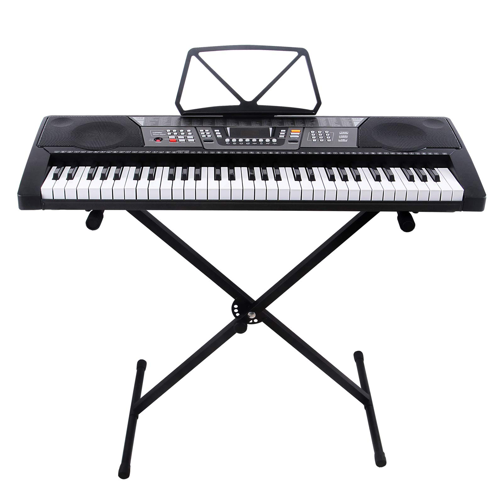 LAGRIMA 61 Key Portable Electric Piano Keyboard, Include LED Display, USB/Headphones/MP3 Input, Music Stand, X Stand, Power Supply, Suit for Kids(Over 8 Years Old) Teen Adult Beginner by LAGRIMA