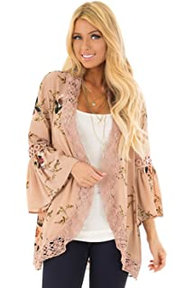 895feeddf5 Perkisboby Womens Summer Bell Sleeve Crochet Lace Trim Floral Printed  Kimono Cardigan Cover Up