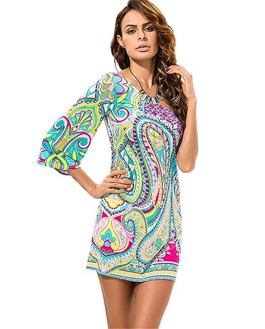 best website f279a 4fc0e DaBag Abiti Donna Vestito Monospalla Sexy Tops Lunghi Slim ...