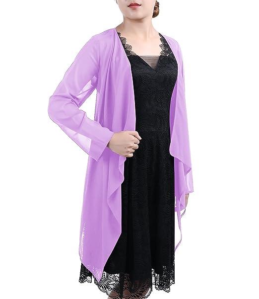 Timormode Mujer Chal Bufanda De Gasa Blusa Chaqueta Plain Abrigo Para Verano Playa Lavender 3XL