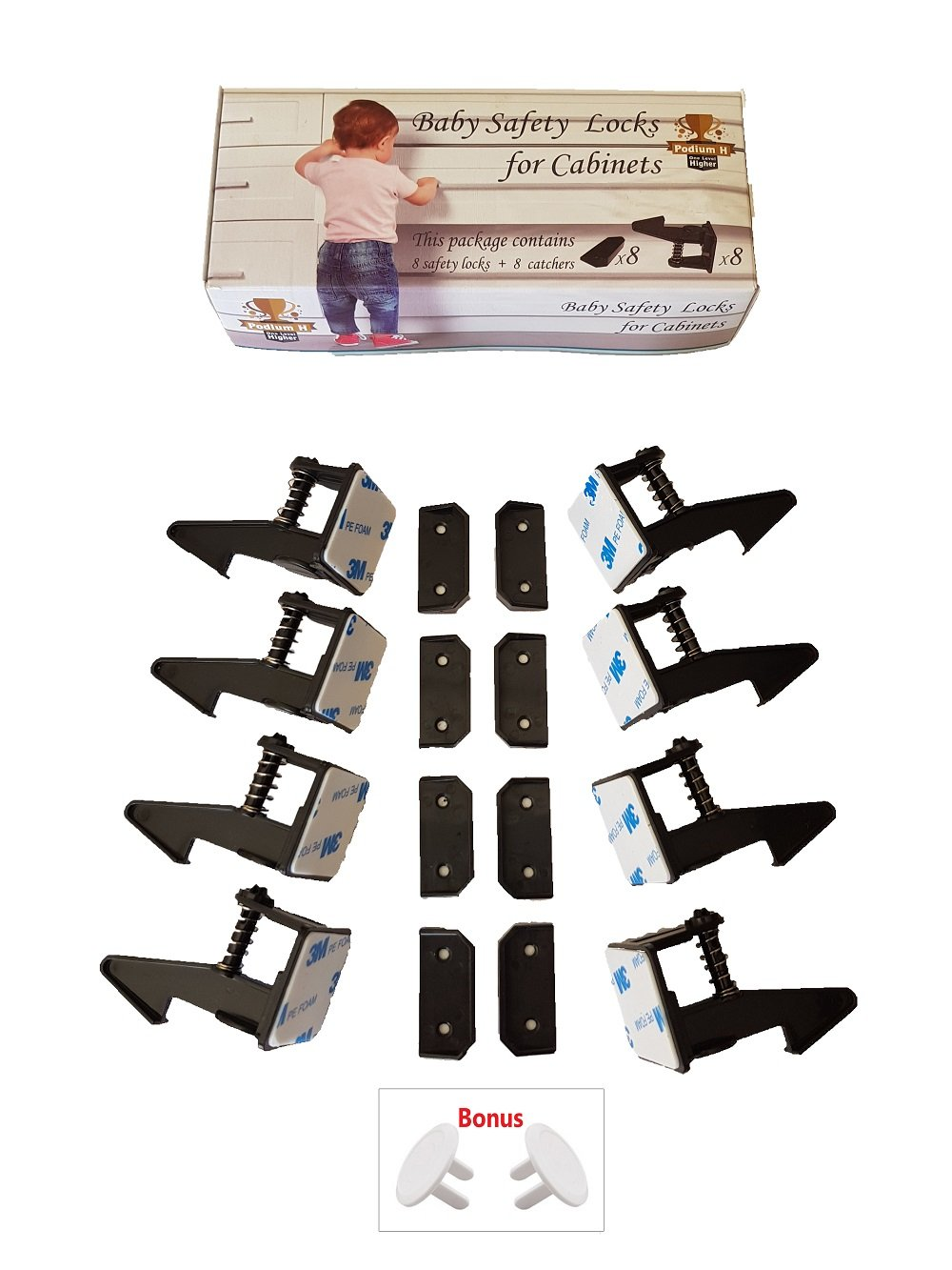Child Safety Cabinet Locks, Baby Proofing Cabinet Latches,No Magnetic, Easy to Install, Pet Proof Locks, No Tools, Drilling Or Measuring Required