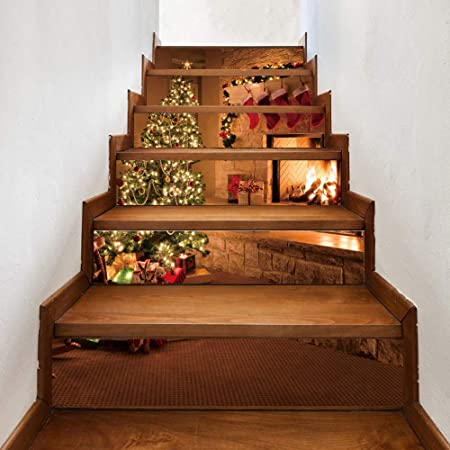 TtKj Pegatinas de escaleras Calcetines de la Navidad decoración 3D de la Etiqueta engomada de la Escalera de la Estufa (Juego de 6 100 * 18cm): Amazon.es: Hogar
