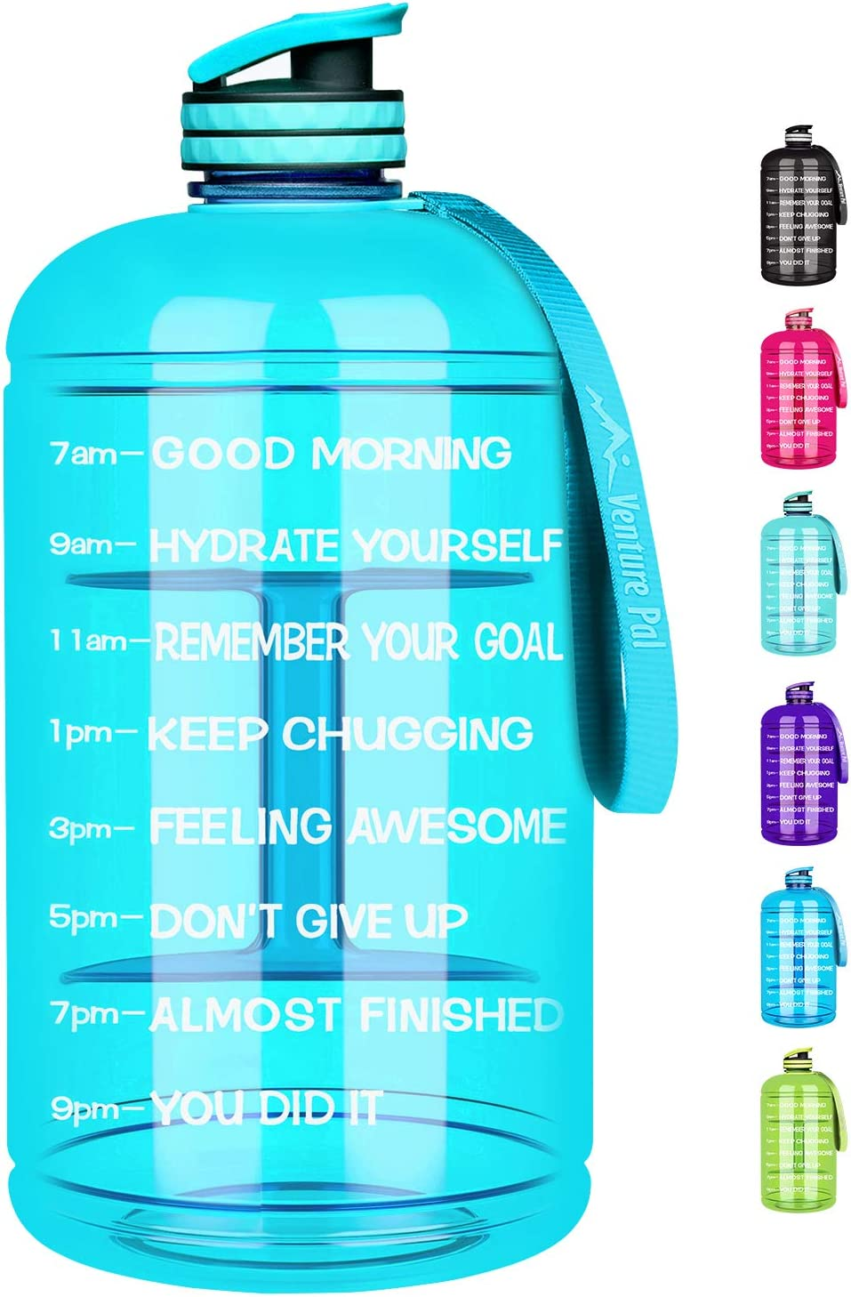 Venture Pal Large Half Gallon//64oz Motivational BPA Free Leakproof Water Bottle with Straw /& Time Marker Perfect for Fitness Gym Camping Outdoor Sports