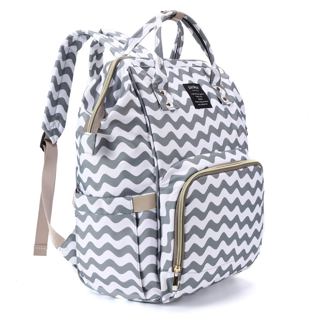 Hiday Diaper Backpack Set-Diaper bag+Changing Pad+Insulated Bottle Pocket+Stroller Straps Multi-Function and Stylish