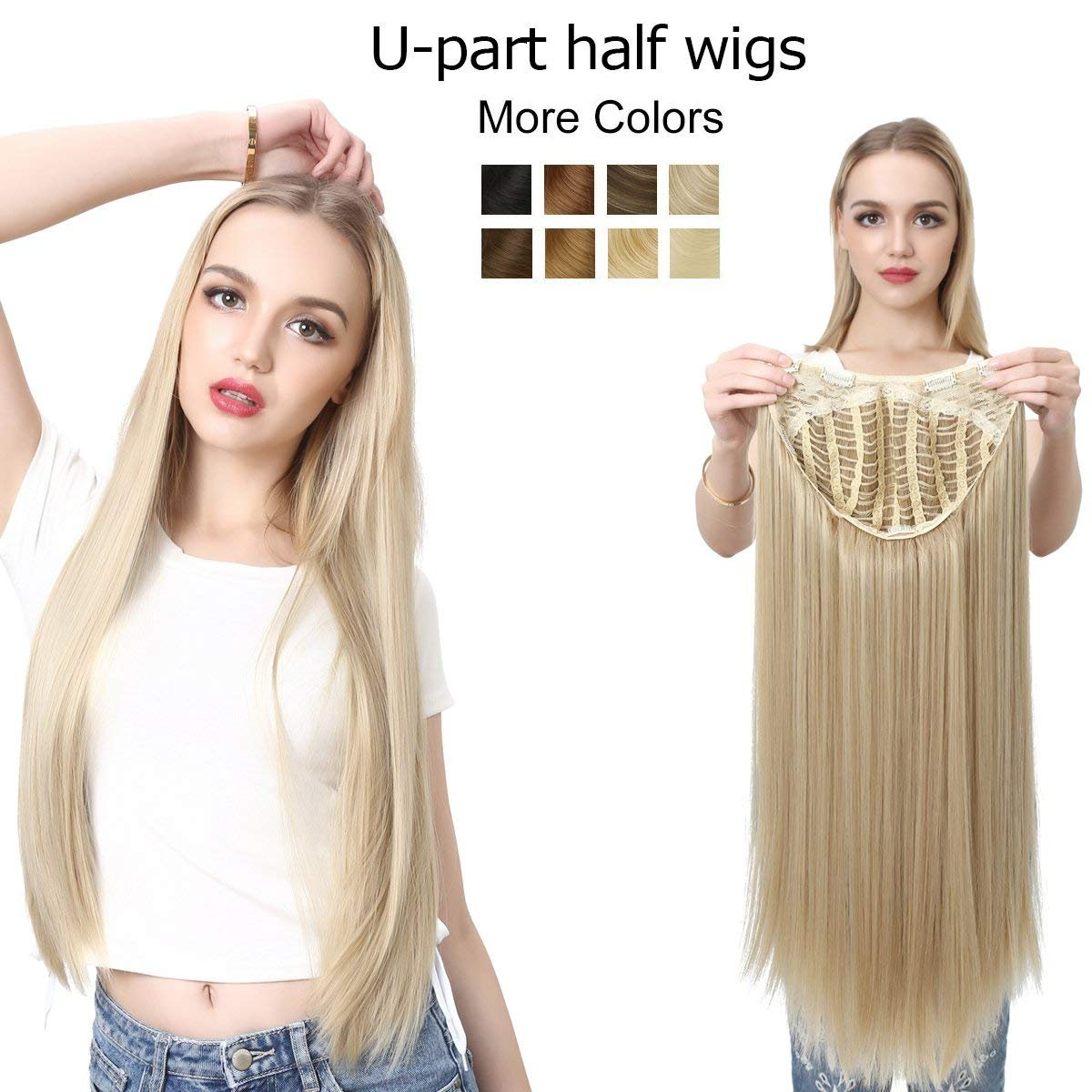 Amazon 28 U Part Half Wig Blonde Straight Long Invisible None