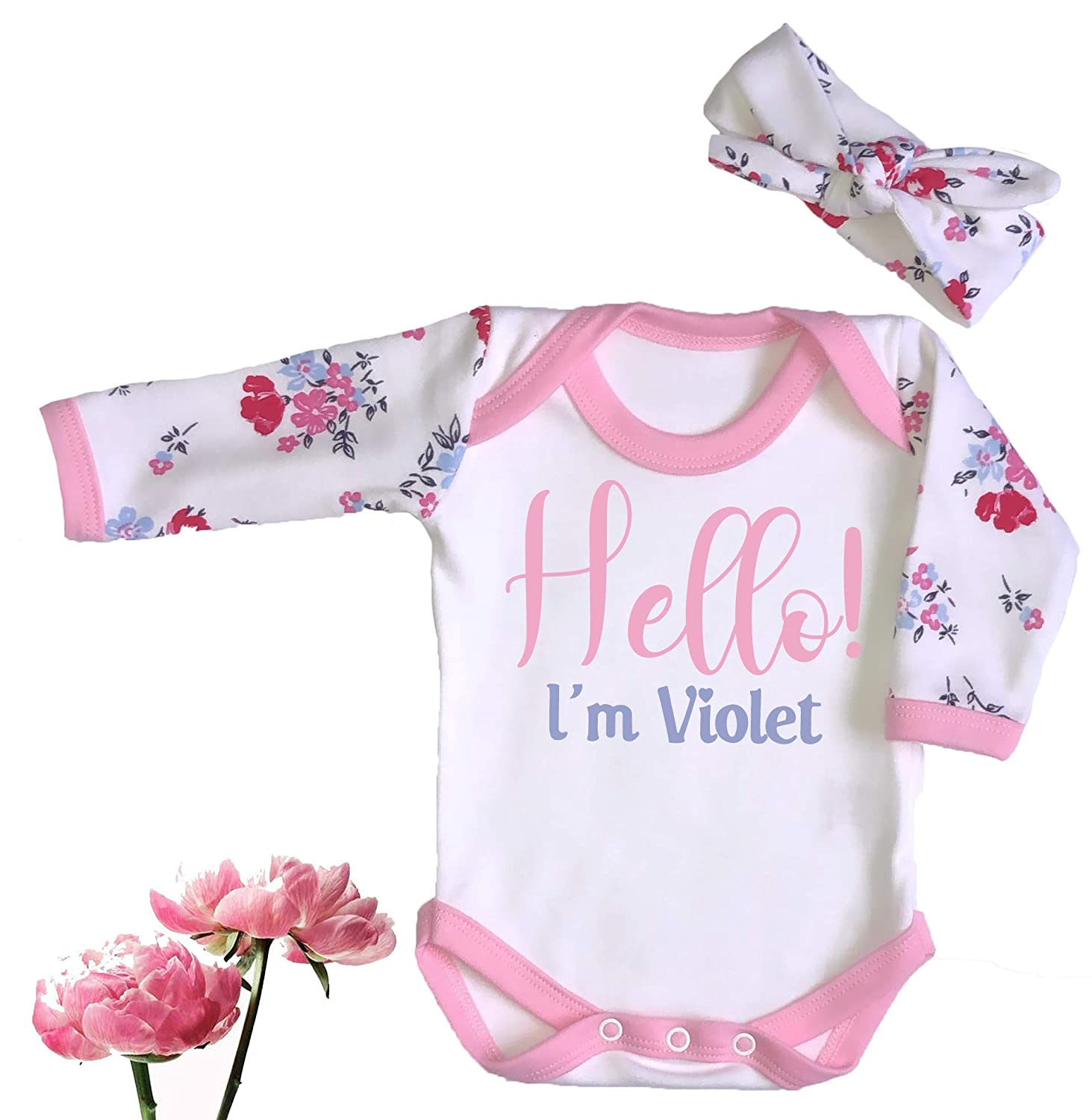 PERSONALISED Newborn//0-3 m Babygrow Hat /& Bib Baby SET