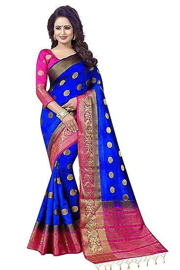 3b29ad8b43579 C J Enterprise Women s Kanjivaram Silk Saree With Blouse Piece (Blue Pink)   Amazon.in  Clothing   Accessories