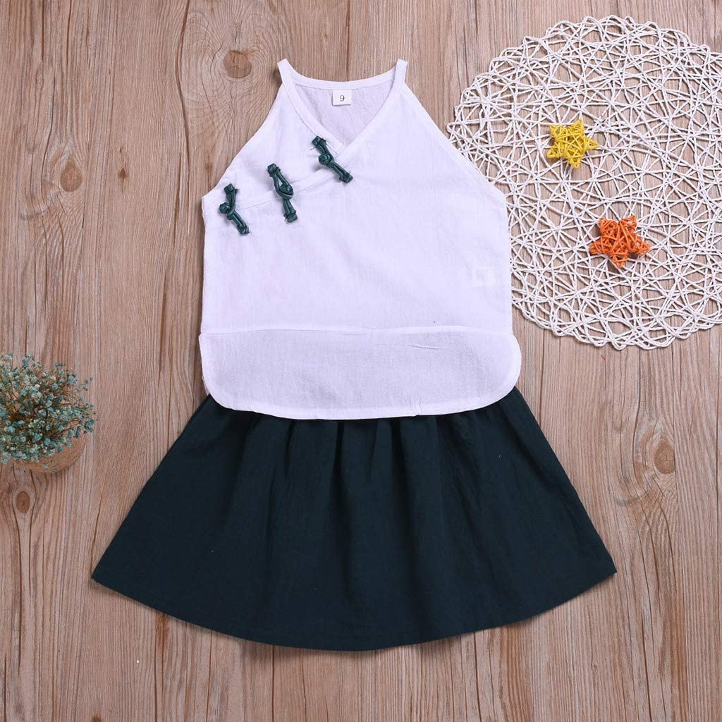 MOGOV Baby Girl Chinese Style Clothes Tang Suit Sleeveless T-Shirt Tops Short Skirt