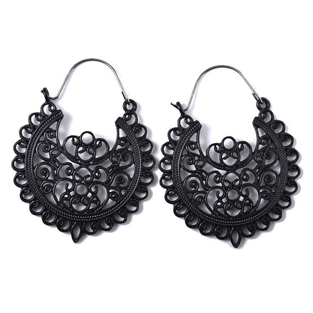 UINKE Retro Bohemian Hollow Flower Carved Dangle Drop Earring Ethnic Tribal Ear Jewelry for Women,Black