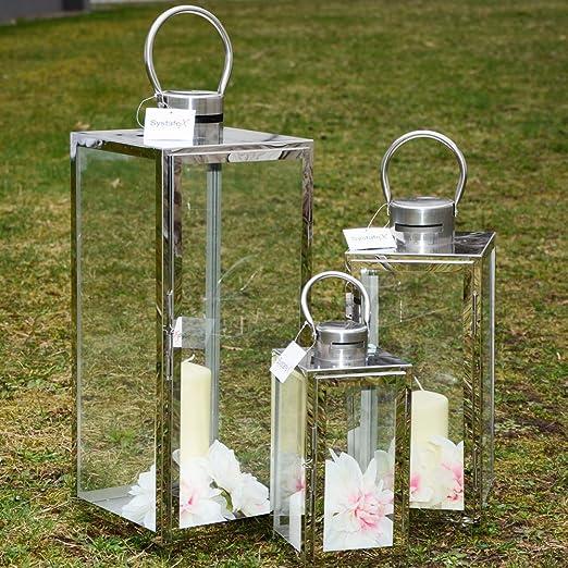 Systafex Farol ml de 846 – Linterna de jardín, 3 piezas. Jardín Farol inoxidable acero inoxidable Resistente a la intemperie jardín lámpara Candelero (– Portavelas de: Amazon.es: Jardín