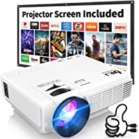 DR. J Professional HI-04 Mini Video Projector with 176' Projection Size, 50000 Hours 1080P Supported Compatible with TV Stick