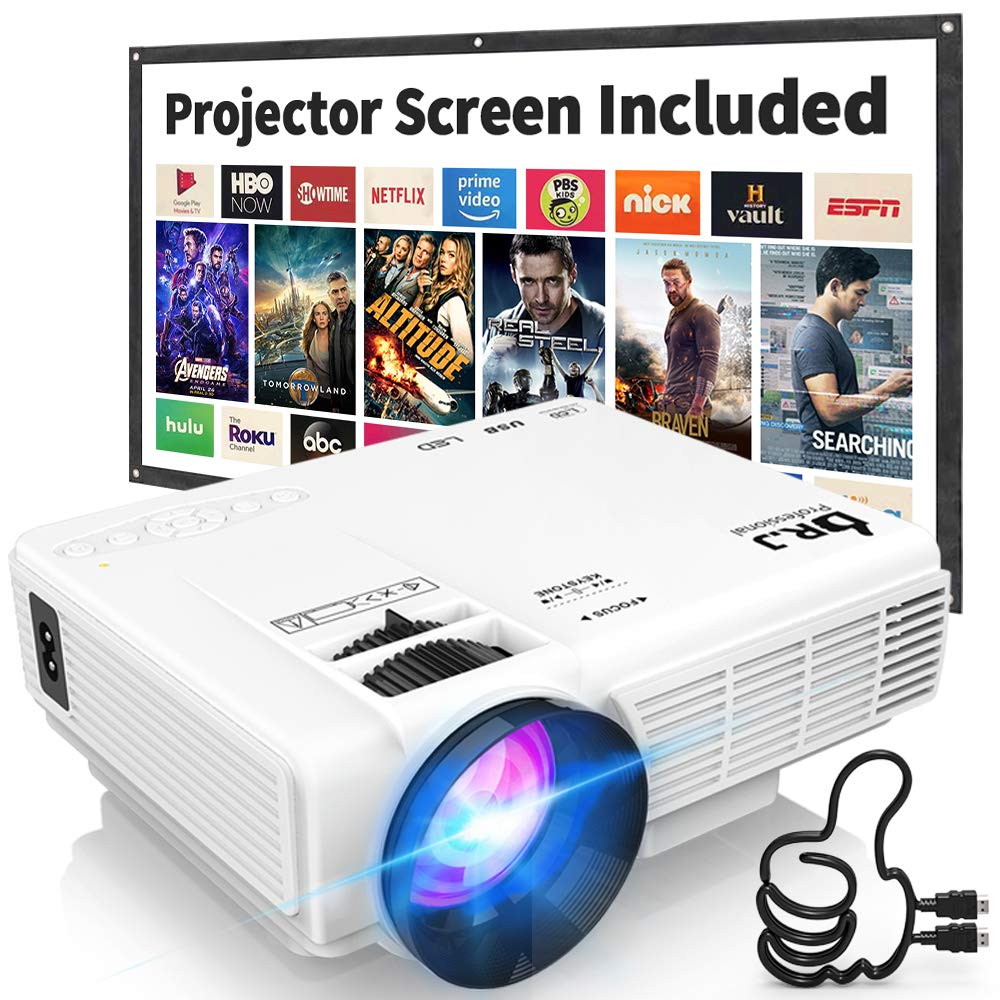 DR. J Professional HI-04 1080P Supported 4Inch Mini Projector with 170'' Display - 40,000 Hours LED Full HD Video Projector, Compatible with HDMI,USB,SD (Latest Upgrade) by DR. J Professional
