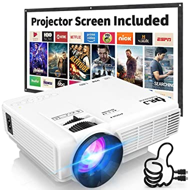 DR. J Professional HI-04 1080P Supported 3600L Mini Projector - 40,000 Hours LED Full HD Video Projector, Compatible with HDMI,USB,SD (Latest Upgrade)
