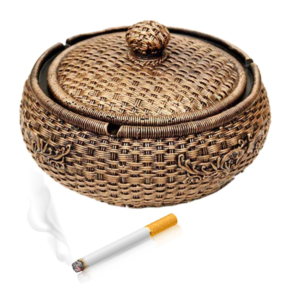 Max&Mix Creative Durable 5.9'' Valetine's Day Gift Ash Trays Home Decor Creative Eco-friendly Paint Large Cigarette Office Table Capacity Cigar Ashtray with Lid As Father's Day Gift for Men Smokers