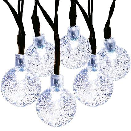 21ft 30 led globe solar lights whitecrystal ball string light 8