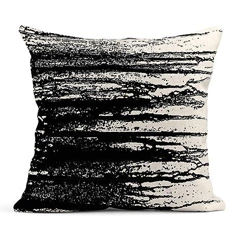 Kinhevao Cojín Gris Antiguo de Blanco y Negro Abstracto ...