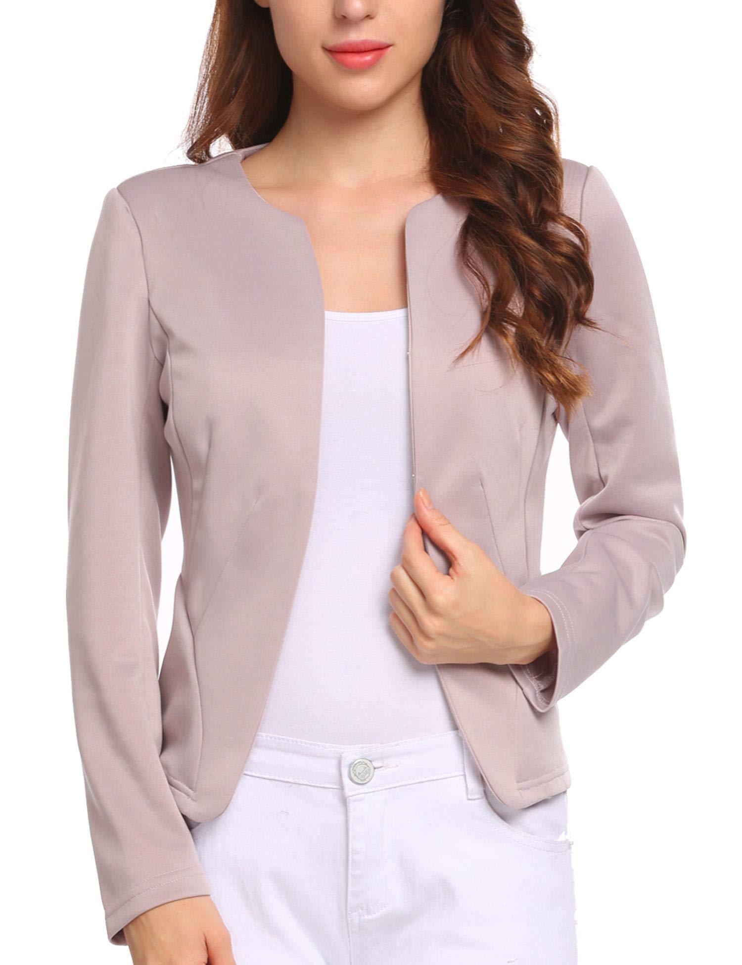 Zeagoo Womens Casual Long Sleeve Work Office Open Front Cardigan Blazer Jacket Pink Purple L