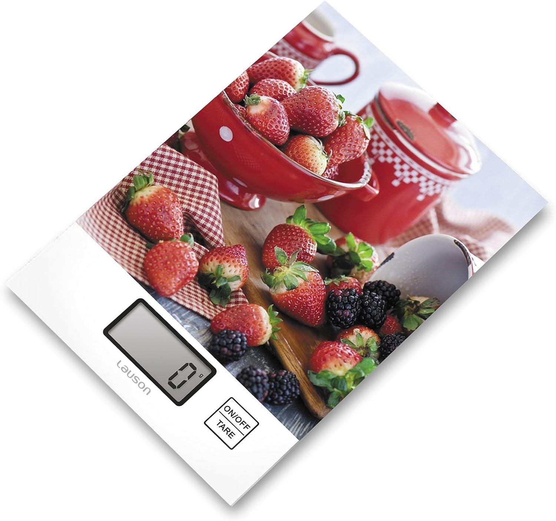 Lauson Báscula Digital de Cocina Alta precisión, Diseño Ultra-Fino de Cristal Templado, Auto ON/Off, Limón (Fresas)