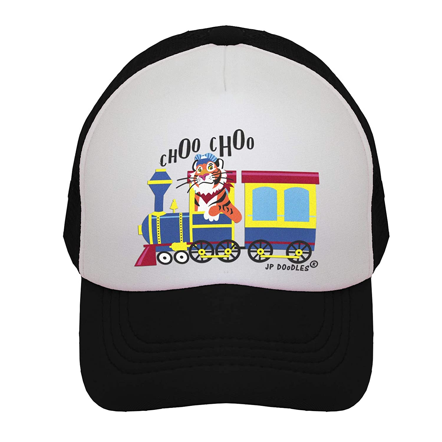 b7d56ffb355 Amazon.com  JP DOoDLES Choo Choo Train on Kids Trucker Hat. Kids Baseball  Cap is Available in Baby