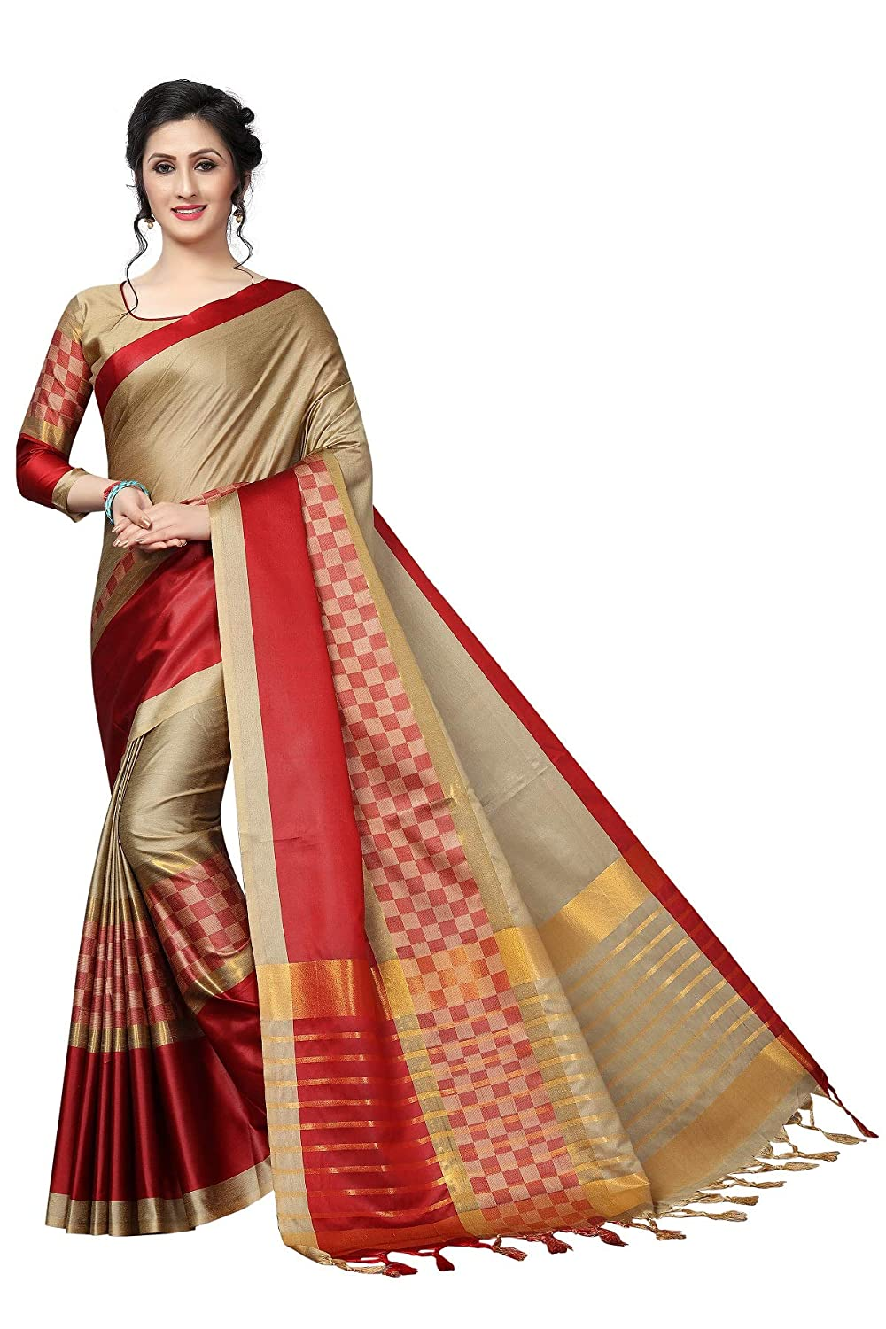 a3af5ca34a AnK Women's Latest Cotton Silk Saree with Blouse Piece (Chiku): Amazon.in:  Clothing & Accessories