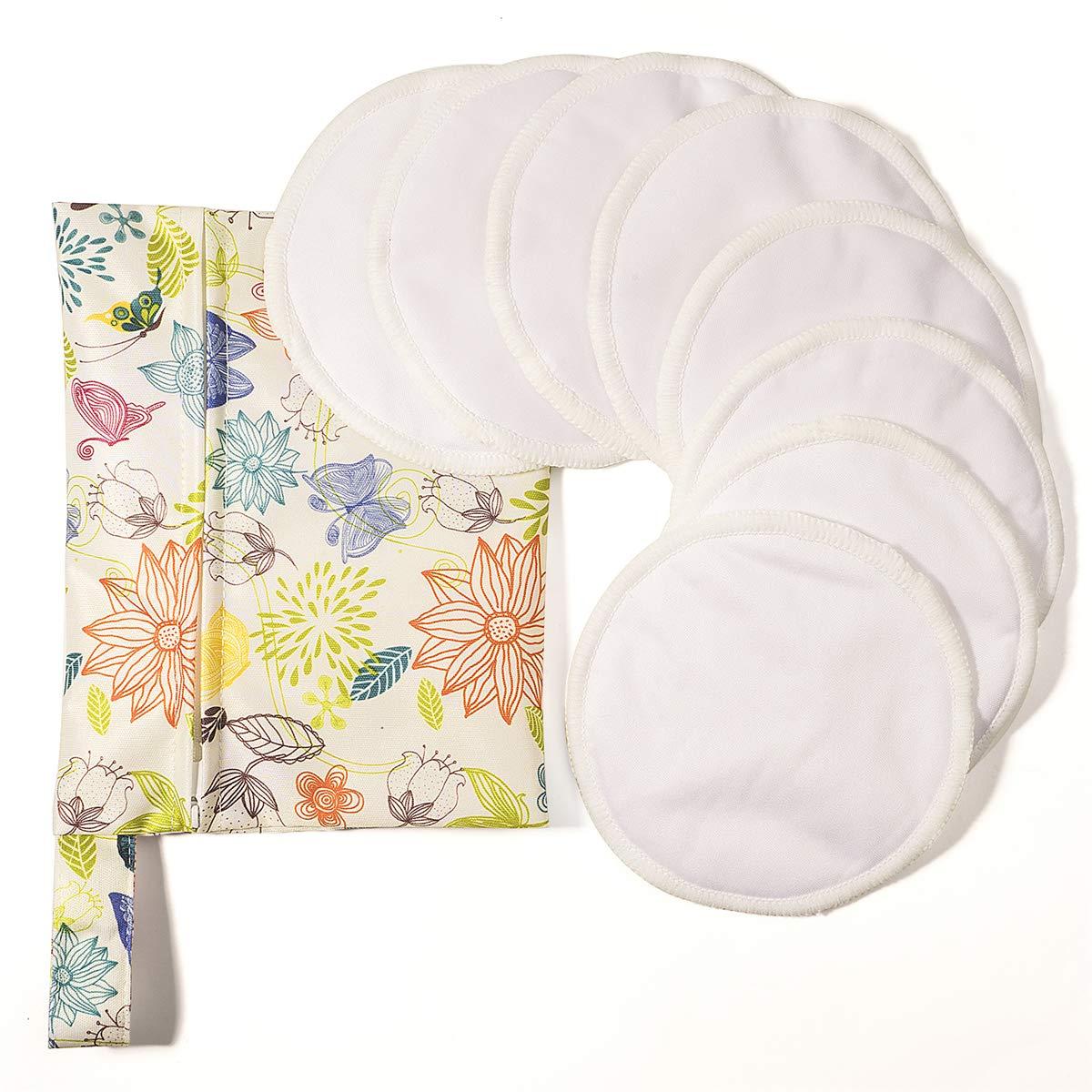Organic Nursing Pads Washable Breast Pad Reusable Breastfeeding Pads (8 Pack) by QHiYan
