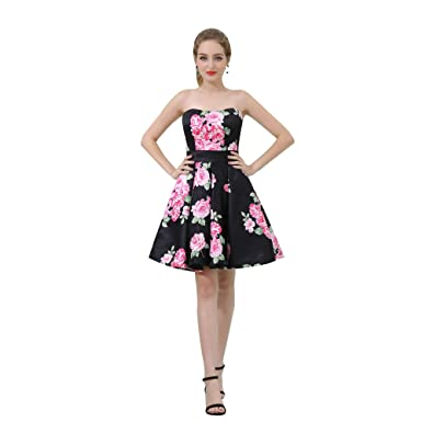 f6a79212acb Zechun Floral Print A-Line Off Shoulder Black Knee length Party Dress  Bridesmaid Dresses - Black -  Amazon.co.uk  Clothing
