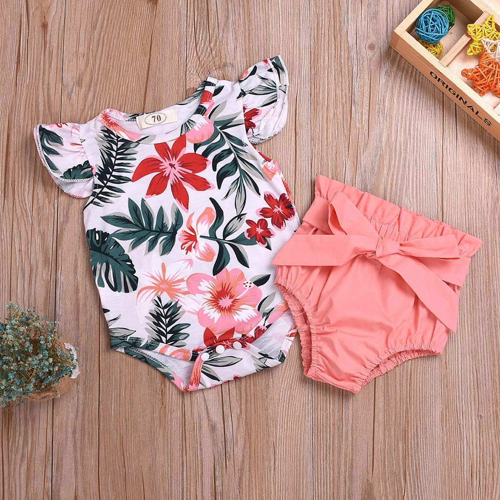 Summer Baby Outfit Set Girl Romper Bodysuit Floral Ruffle Wesracia Baby Girl Knickers Bloomers Solid Loose Fit