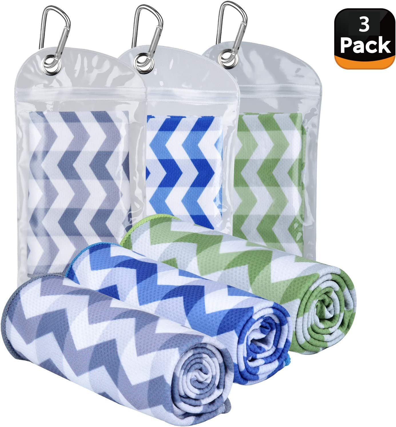 """Amgico 3 Pack Cooling Towel, Ice Towel Rapid Cold Microfiber Towels, (40""""x12"""") Instant Chilly Towels for Sports Gym Fitness Yoga Jogging Workout Enduring Running"""