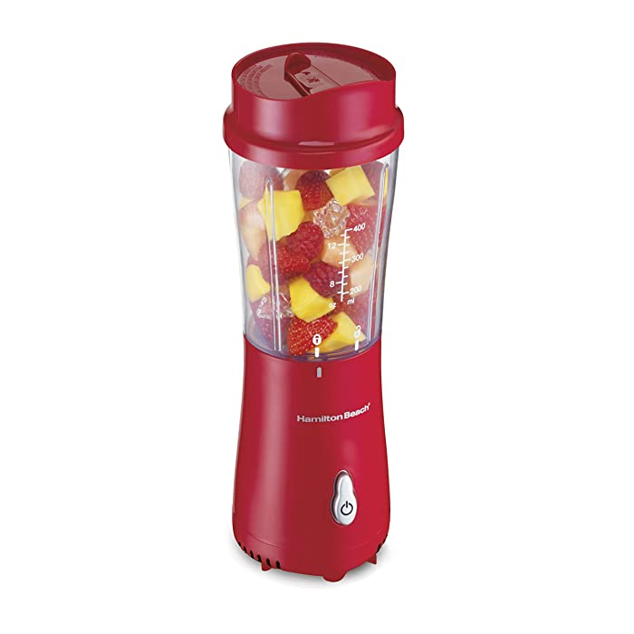 Hamilton Beach (51101R) Personal Blender with Travel Lid, Single Serve, For Shakes & Smoothies, Red