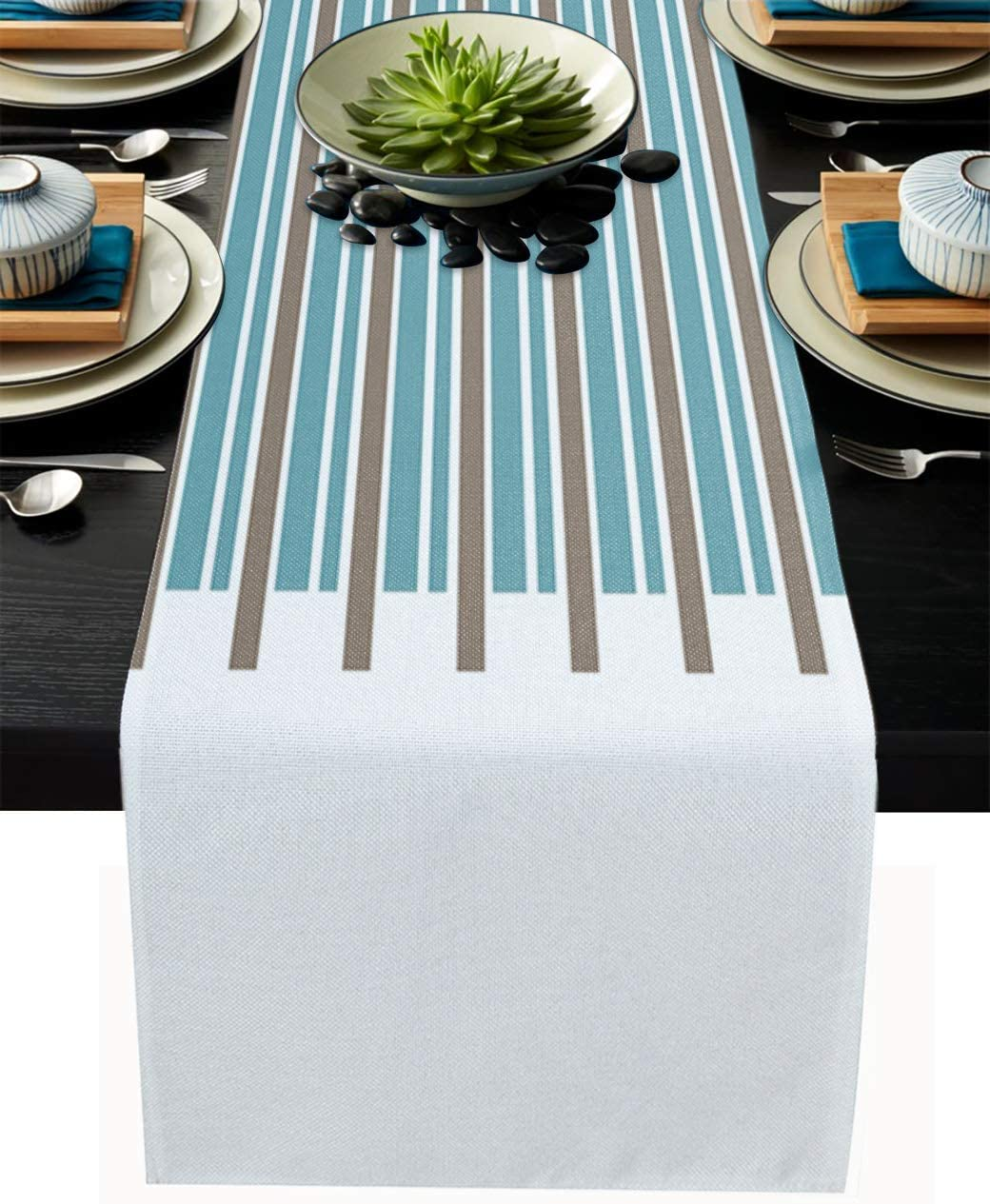 Home Collection dh Fashion Blue and Brown Horizontal Stripes Non-Slip Table Runner for Tabletop, Fashion Table Runners Perfect for Dinner Parties, Holidays, Everyday Decoration, 14x72in