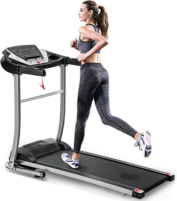 """EiioX Folding Treadmill 1.5HP, 56.3"""" x 25.2"""", Quiet Exercise Machine with MP3, Audio Auxiliary Port, EKG Grip for Home use, Black"""