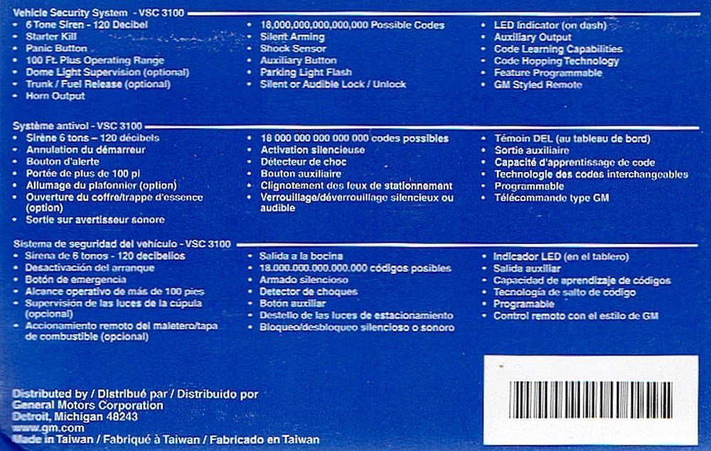 Amazon.com: GM 12495644 VSC-3100 GM Accessories Vehicle Security Alarm System: Car Electronics