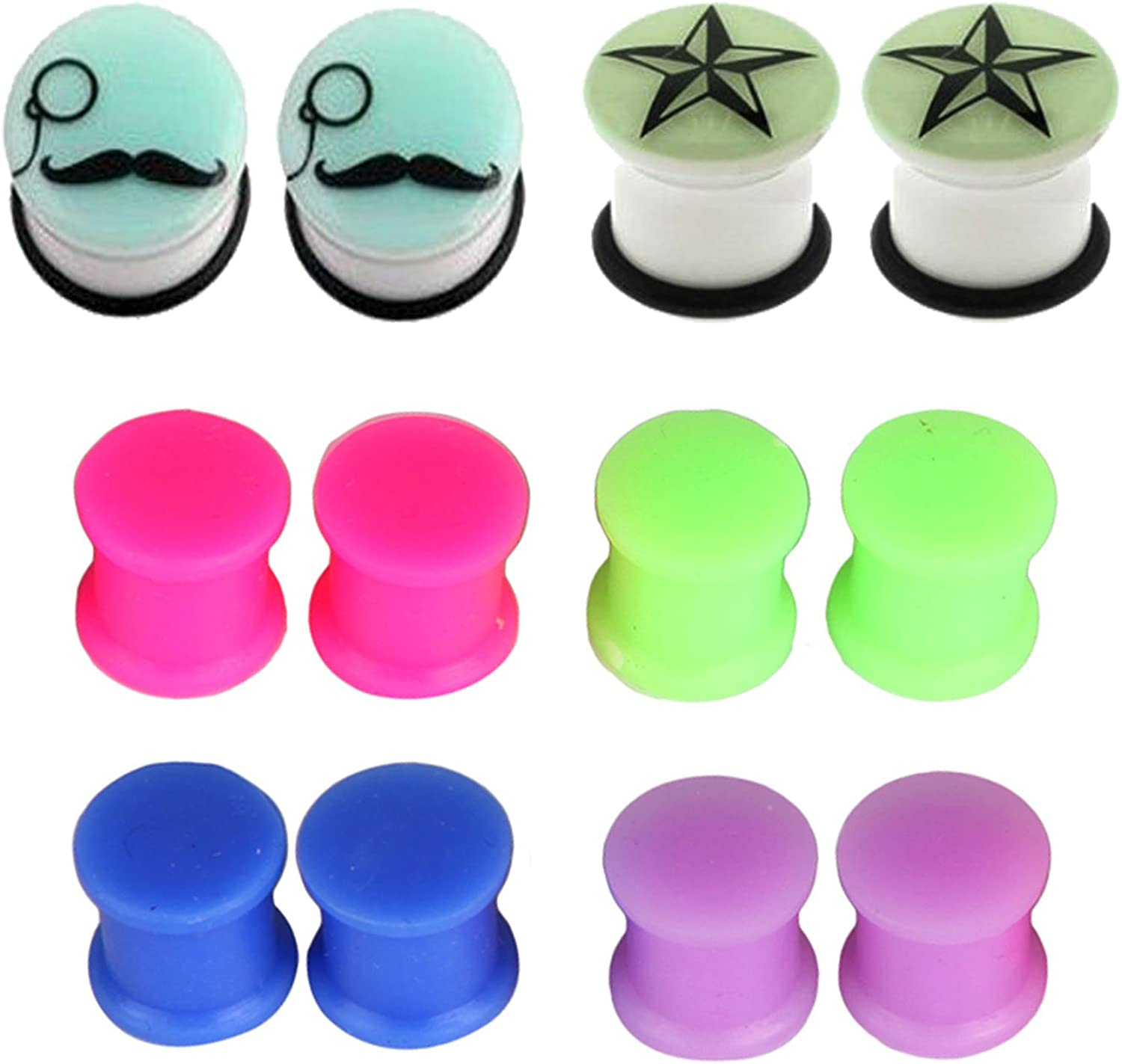 PAIR of GLOW IN THE DARK EAR PLUGS W//o-Rings SOLID GLOW GAUGES Sizes 8g-00g