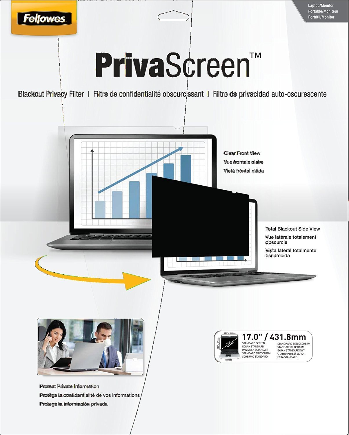 Fellowes PrivaScreen Privacy Filter for 17.0 Inch Widescreen Laptops and Monitors 16:10 (4801001) [並行輸入品]   B01M0AN7X9