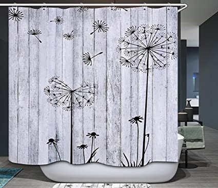 Barn Board Thistle Shower Curtain Rustic Black White Gray Primitive Country Wood