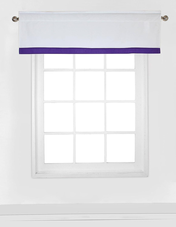 Purple Bacati Mix and Match White Window Valance with Band